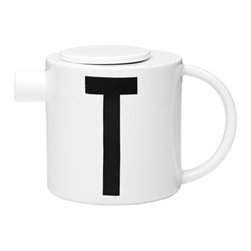 "Design Letters & Friends - Design Letters Teapot by Design Letters & Friends - It's ""T"" time for all you font lovers out there. The Design Letters Teapot features a capital T originally designed in 1937 by Arne Jacobsen as part of a distinctive font for the interior signage of the Aarhus City Hall. Here, the clean precision of the typography is matched by the clean, modern lines of the bone china vessel itself. Established in 2013, Design Letters & Friends is a colorful and functional collection of Danish designed home accessories. The selection of graphic home decor builds on the typography-centered products of parent company, Design Letters. It is especially complementary to the Design Letters series of textiles, kitchenware, office supplies and wall letters and numbers inspired by the vintage typography of Arne Jacobsen."