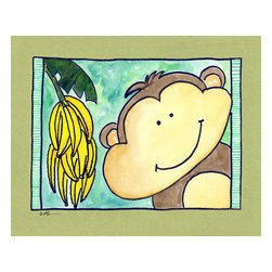 Oh How Cute Kids by Serena Bowman - Here's Looking at You - Monkey, Ready To Hang Canvas Kid's Wall Decor, 16 X 20 - Who's looking at you?  Mr. Monkey, that's who!