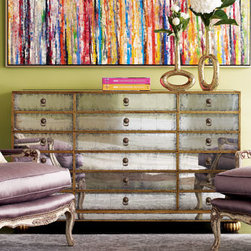 """Orleans"" Mirrored Chest - The ""Orleans"" mirrored chest would be a stunning addition to any room.  With storage galore, it will quickly become a favorite piece.  This chest is hand-crafted and designed with six drawers down the middle and three double drawers on each side.60""W x 21""D x 36""T. Imported."