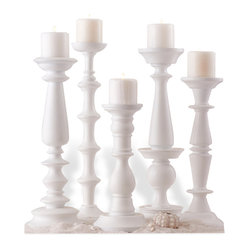 Kathy Kuo Home - Set of 5 Beach Style Sea Crest Carved Wood White Pillar Candleholders - Elevate your dinner parties with the varying heights of these classic, white pillar candleholders. Made of carved mango wood, each in a traditional design, you can use them singly or group them together for an eclectic arrangement.