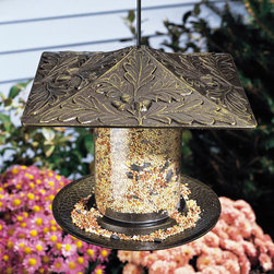 """6"""" Oak Leaf Tube Bird Feeder - Featuring elaborate details of oak leaves, the 6"""" Oak Leaf Tube Bird Feeder will add a unique touch to your garden. It is made of durable cast aluminum and is offered in several premium finishes."""