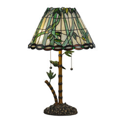"Meyda - 24""H Loro Paraiso Table Lamp - Lovely tropical flowering bambooin leafy green adornthis bone beige art glass shade, which is trimmed witha bark brown ringlet motif with perfectly pairedemerald colored glass jewels on the skirt. The unique,complementary bamboo styled base is accented with greenleaves and a parrot while the shade is created withmeyda tiffany's famous copperfoil construction process. Bulb type: med bulb quantity: 2 bulb wattage: 60"