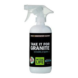 Better Life Stone Countertop Cleaner - 16 Fl Oz - With 99% of its ingredients coming from all-natural or renewable resources, Take it for Granite is one surface cleaner you should definitely take for granted! Better Life's commitment to making conventional home cleaning products that are also clean for the environment originated from real parents concerned with the toxins hiding under their own kitchen sinks. Their latest surface cleaner is a safe and effective way to disinfect and protect granite, marble, quartz, and other high-end stone surfaces.