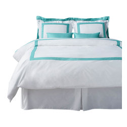 LaCozi - LaCozi Tiffany Blue Duvet Cover Set, King - La Cozi's boutique hotel collection is ideal for both resorts and private residences. The duvet cover sets come in a variety of colors on white with stitched borders. All sets are 1100 thread count and made out of 100% cotton sateen. With intricate detail, each set is hand sewn and cut to a custom size.  Each set includes a duvet cover and 2 sham covers.