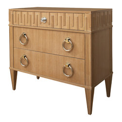 Global Views - French Key Chest - Light - Made of rift cut oak hardwood and veneer, the elegant French Key Collection is finished in a hand applied limed ceruse white wash with a matte lacquer top coat or a rich walnut colored finish.  The French Key chest is finished on all four sides so it can float in a room. It has three drawers with full extension metal glides.