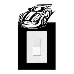 StickONmania - Lightswitch Sports Car #2 Sticker - A vinyl sticker decal to decorate a lightswitch.  Decorate your home with original vinyl decals made to order in our shop located in the USA. We only use the best equipment and materials to guarantee the everlasting quality of each vinyl sticker. Our original wall art design stickers are easy to apply on most flat surfaces, including slightly textured walls, windows, mirrors, or any smooth surface. Some wall decals may come in multiple pieces due to the size of the design, different sizes of most of our vinyl stickers are available, please message us for a quote. Interior wall decor stickers come with a MATTE finish that is easier to remove from painted surfaces but Exterior stickers for cars,  bathrooms and refrigerators come with a stickier GLOSSY finish that can also be used for exterior purposes. We DO NOT recommend using glossy finish stickers on walls. All of our Vinyl wall decals are removable but not re-positionable, simply peel and stick, no glue or chemicals needed. Our decals always come with instructions and if you order from Houzz we will always add a small thank you gift.