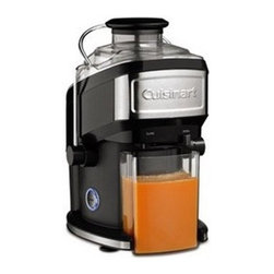 Cuisinart - Juicer - Features: -Stainless steel micro mesh filter.-Drip less pour spout.-One speed backlit push button control.-500-Watt motor operating at high RPM's which Ensures Maximum.-Extraction and quiet operation.-All removable parts are dishwasher safe.-Extra large feed tube accommodates whole fruits and vegetables.-16 Ounce capacity juice container and a 1.2 Liter pulp container for continuous juicing.-Distressed: No.Dimensions: -11.5'' H x 11.75'' W x 14.25'' D, 9.9 lbs.-Overall Product Weight: 9.9 lbs.Warranty: -Warranty: 3 Years Limited.
