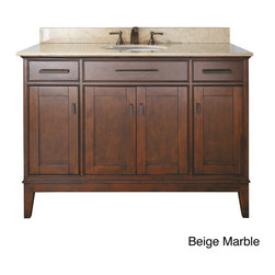 None - Avanity Madison 48-inch Single Vanity in Tobacco Finish with Sink and Top - Bring bold,transitional style to your bathroom with the Madison Double Sink Bathroom Vanity,finished in Tobacco and accented with old bronze hardware. This large vanity is ideal for a master bath,with plentiful storage space for a variety of items.