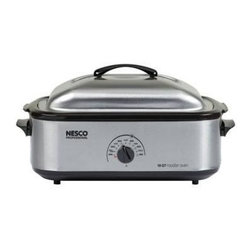 Metal Ware Corp. - Nesco 18 Qt. Stainless Steel Roaster - Nesco 4818-25-20 18 Qt.  stainless Steel Roaster with a Stainless Steel Cookwell for Commercial Food Prep.  Large cooking capacity holds up to a 22 lb turkey or ham (includes a cooking rack.  1425 watts of power to do everything that your oven can do except broil. It bakes, steams and slow cooks.  Circle of heat (TM) heating element cooks from the sides for moist, even cooking.  Features include adjustable full-range temperature control up to 450 degrees, removable cookwell for easy clean-up, porcelain coated surface resists scratches, corrosion, stains and chips, chrome plated cooking/baking rack. The entire unit is easy to handle and easy to store.