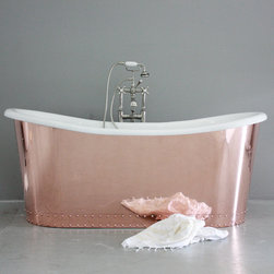 None - 'The Woburn' 73-inch Copper/ Cast Iron French Bateau Bathtub - Add French Bateau style to your bathroom decor with the fabulous Woburn centerset tub. A generous 73 inches long for comfortable soaking,this beautiful tub features a highly-polished copper exterior with decorative rivet buttons.
