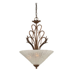"Toltec - Toltec 204-BRZ-411 Bronze Finish 3-Light Uplight Pendant - Toltec 204-BRZ-411 Bronze Finish 3-Light Uplight Pendant with 16"" Italian Bubble Glass Shade"
