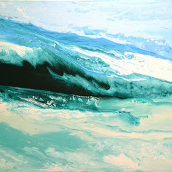 """Breakers Of The Sea (Original) by Linda Bailey - This painting is from my 'Believe It' series. It is an original one of a kind painting created with acrylic paint on a gallery wrapped canvas. The canvas depth is 2-1/2"""" and the edges have been painted a light blue to match the painting. This piece is ready for frame-free hanging. If you prefer to do so, this painting can be framed. The colors in the painting are white, and several shades of blue ranging from a midnight blue (southern ocean blue) to a light baby blue. An archival UV-resistant, fine art gloss varnish has been applied to protect the surface of the painting. Feel free to contact me with any questions! Thank you  Linda"""
