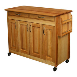 Catskill Craftsman - Catskill Craftsman Butcher Block Kitchen Island - This Catskill butcher block is a great kitchen accessory. This mobile island cabinet allows you to store what you need easily and move it around to keep it convenient. It includes a spice rack,drawer,and adjustable interior shelves for extra space.