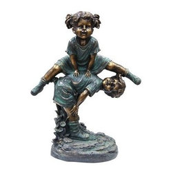 Alpine Corporation - Girl Jumping Over Boy Statue - This antique finish sculpture has a timeless charm that captures the innocence of childhood. The intricate detailing of these children is sure to bring a whimsical playfulness to your garden or deck.