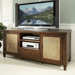 Somerton Dwelling Mesa TV Console - With its woven natural rattan door fronts and sleek design, the Somerton Dwelling Mesa TV Console lends your room a casual, contemporary feel. The top of this stylish TV console features a reverse diamond pattern and it is wide enough to accommodate nearly any size flat panel TV. It is made of hardwood solids and primavera veneers with a medium walnut finish accented by slender antique brass hardware. Two doors with woven rattan fronts open to reveal one adjustable shelf each, great for hiding game consoles and stacks of CD/DVDs. A single drawer below is perfect for all those little extras and the two open drawers offer space for media components while allowing remote control access. It even has a cord management feature at the back to tame unsightly wires. Casually elegant!About Somerton Dwelling Somerton Dwelling is the US sales and marketing arm of Kingstone Furniture. Kingston is a premier furniture manufacturing facilities based in southern China. They are recognized in the region for their commitment to employees and the community, providing clean, comfortable, and environmentally friendly work environments and support for their workforce. Somerton Dwelling uses quality hardwoods, beautiful veneers, and smart design features to create furniture perfect for todays homes. They have built a reputation for delivering top quality entertainment centers, bedroom furniture, dining room furniture, and occasional tables at prices youll love.