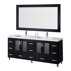 "Design Element - Design Element Stanton Espresso Single Drop-in Sink Vanity Set - 72"" - This 72"" version of the Stanton vanity set has all the design and quality features of its smaller cousins, such as solid wood cabinets and drawers, an acrylic countertop, integrated sinks, and chromed drains. Its handsome and understated look will complement any modern bathroom, and the quality of its materials will ensure that its beauty won't fade over time. Moreover, with a generous eleven drawers and two windowed storage cabinets, this Stanton is also at the highest standard of utility in its class."