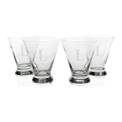 Grandin Road - Set of Four Personalized Cosmopolitan Cocktail Glasses - Modern, stemless cosmopolitan glasses with martini-shaped bowls and weighted bottoms, monogrammed to your taste. Sturdy construction from clear, hand-blown glass. Due to its handmade nature, glass may exhibit small bubbles or swirls. Engraving with a single, uppercase block initial, as shown. Conveniently dishwasher safe. Our Set of Four Personalized Cosmopolitan Cocktail Glasses transcend simple barware to become functional works of art. These shapely and sleek vessels are perfect for entertaining guests, or giving as a treasured gift to someone who thirsts for the always-in-style cosmopolitan. The set of four makes a refreshing new addition to any barware collection, and we'll be happy to add single-initial engraving at no additional cost. Cheers!. . . . . 10 oz. capacity each. Personalized items are not returnable.