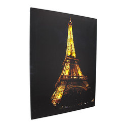 Zeckos - Flickering LED Eiffel Tower at Night Canvas Wall Hanging - This dazzling canvas features the Eiffel tower at night and it has flickering LED lights that really make it shine It measures 19 inches tall, 14 inches wide, 3/4 of an inch thick, and has 2 hanging slots cut into the wooden frame so it easily mounts to any wall. The flickering lights are powered by 2 AA batteries (not included), are controlled by an inconspicuous on/off switch on the side of the canvas, and unsightly wires are concealed and contained by the vinyl backing. This piece is a lovely accent in bedrooms, living rooms, and dining rooms, and makes a wonderful gift for a friend.