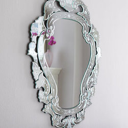 "Petite Venetian-Style Mirror  - This lovely Venetian-style mirror is handcrafted and features a pretty etched design.  The petite size of this mirror makes it perfect for hanging above a chest or over a sink.24""W x 1.25""D x 35""T"