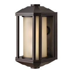 Hinkley Lighting - Hinkley Lighting HK-1396BZ-GU24 Castelle Outdoor - Castelle's transitional style features clean lines and a ribbed etched glass cylinder accented by etched amber corner panels, adding to its sophisticated look.