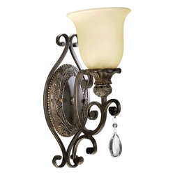 Quorum Lighting - Quorum Lighting Fulton Traditional Wall Sconce X-45-1-2345 - This Quorum Lighting Fulton Traditional Wall Sconce is a piece that combines metropolitan style with timeless elegance. Notice the frame's gently scrolled arms in a beautiful, classic bronze finish that perfectly complements the amber scavo glass shade. It's further accented with a teardrop, cut-glass pendant, which takes this piece to another level.