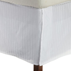 Bed Linens - Egyptian Cotton 300 Thread Count Stripe Bed Skirt Queen White - 300 Thread Count Stripe Bed Skirt