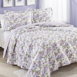 Laura Ashley - Laura Ashley Sperborne Raspberry Reversible Cotton 3-piece Quilt Set - With a beautiful floral pattern on one side,this lovely quilt is reversible for more decorative options. At least one matching sham is included and the set is machine washable for easy care.