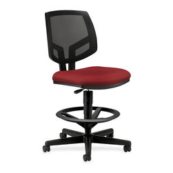 HON - HON Volt Seating Mesh Task Stool - Crimson Red - Fabric Crimson Red Seat - Volt task stool offers a unique combination of style, scale, comfort and functionality. Its real value is in its flexibility with the ability to work in virtually any environment. Generously proportioned seat cushion and natural cooling of a mesh back are welcoming to every body. Adjustable footring and extended 360-degree swivel allow movement in any direction. The footring adjusts in height easily with a simple knob for the best position for your legs and feet. Pneumatic seat-height adjustment ranges from 23-7/8 to 32-3/8. The five-star base includes 2-1/2 dual-wheel, hooded casters for easy chair movement. The cushioned seat is covered in fabric. Seat measures 19 wide x 18 deep. The back size is 18 wide x 18-1/2 high. Stool also features a plastic outer back, and frame is available in black only. Stool meets or exceeds applicable ANSI/BIFMA requirements.