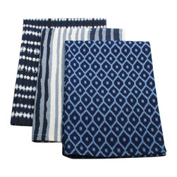 Tag Everyday - Indigo Dishtowels, Set of 3 - 100% cotton. Machine wash cold separately; tumble dry low. Includes one each of three stylesColor: Blue/White.