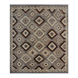 """ALRUG - Handmade Multi-colored Oriental Kilim  8' 5"""" x 9' 11"""" (ft) - This Afghan Kilim design rug is hand-knotted with Wool on Wool."""