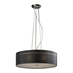 "Schuller - Schuller Ibis Pendant Light - Black Shade - The Ibis Pendant Light - Black Shade has been made by Schuller in Spain  This Pendant light collection was made of metal and chrome finish  with fabric shade hanging of 3 adjustables tensors, shade includes top and bottom diffuser This modern pendant light is an impresive presence in any kind of room, bringing a touch of novelty to the environment where it is placed The lamping comes with 3 X E27 max 60W Incandescent (Not included)   The Ibis Pendant Light - Black Shade has been made by Schuller in Spain  This Pendant light collection was made of metal and chrome finish  with fabric shade hanging of 3 adjustables tensors, shade includes top and bottom diffuser This modern pendant light is an impresive presence in any kind of room, bringing a touch of novelty to the environment where it is placed The lamping comes with 3 X E27 max 60W Incandescent (Not included)      Manufacturer: Schuller   Designer: Schuller    Made in: Spain    Dimensions:  Small:Height:7.09"" (18 cm) X Depth:21.65"" (55 cm) X Width:21.65"" (55 cm)   Large:Height:9.45"" (24 cm) X Depth:21.65"" (55 cm) X Width:21.65"" (55 cm)      Lamping:  3 X E27 max 60W Incandescent (Not included)     Material: Febric, metal"