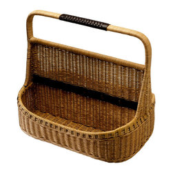 Kouboo - Wicker Garden Tool Basket, Clay Color - No more running back and forth to gather supplies or precariously carry an armful of tools. Trips to the garden can be a cinch with this sturdy wicker Garden Tool Basket. Woven by hand, this basket, in a light clay color, offers wicker handles for toting garden hand tools in one trip with a braided leather cover keeps everything neatly tucked away and out of sight.