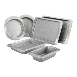 Meyer - Cake Boss Deluxe Nonstick Bakeware 6-piece Bakeware Set, Grey - This convenient bake ware set includes all the essential pans needed to help make baking fun and enjoyable for everyone.