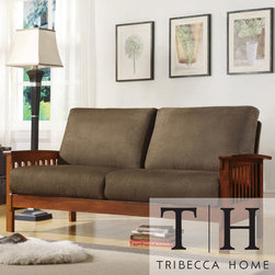 Tribecca Home - TRIBECCA HOME Hills Mission-style Oak and Olive Sofa - Enrich your home decor with a Hills Mission-style sofa Furniture features a solid wood frame with a dark oak finish Sofa also features olive-colored microfiber fabric