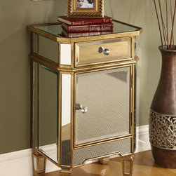 None - Mirror Finish 1-drawer 1-door Cabinet - Add a glamorous accent to your home with the mirror finish of this cabinet. The door opens to reveal a conveniently adjustable shelf.