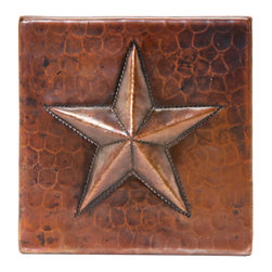 """Premier Copper Products - 4"""" x 4"""" Hammered Copper Star Tile - 4"""" x 4"""" Hammered Copper Star Tile"""