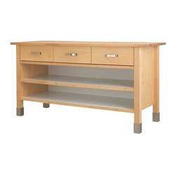 VÄRDE Base Cabinet - This sturdy island provides ample workspace, and thanks to the solid birch top you needn't take out a cutting board for every vegetable you chop. I could also picture this piece in a craft room, with plenty of room underneath to store art supplies.