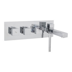 Hudson Reed - Kubix Wall Mounted Triple 2 Outlet Thermostatic Tub Filler & Diverter - The Hudson Reed Kubix wall mounted thermostatic triple tub shower mixer with diverter features clean, geometric lines for a neat finish to your bathroom. Perfect for creating an ultra-modern look this high quality thermostatic tub shower mixer has been made from solid brass with a chrome plated finish to blend in seamlessly with any decor.  With easy to use, yet stylish controls that operate the flow and temperature of the water this tub shower mixer has a built-in anti-scald device for complete peace of mind. This tub shower mixer is suitable for use with a fixed head and slide rail kit.  Please note: a shower handset and hose are not included.