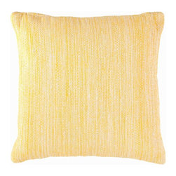 """Mingled Daffodil Indoor/Outdoor Pillow - 22"""" x 22"""" - Soft patterning and warm, intense color bring warmth to a room with the Fresh American Mingled Indoor/Outdoor Pillow in soft, saturated Daffodil yellow.  A well-loved shade for adding high points to a color scheme, the warm sunshine yellow takes on a lovely key with its blended weave.  Relaxed in form, versatile in pattern, and inherently durable in construction, this large accent pillow is a superb investment."""