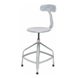 Nuevo Living - Aviator Adjustable Stool, Set of 2 - Bar none, these are probably the strongest bar stools you'll ever see. Made of pressed steel, with a unique contoured backrest, you get a pair of stools that won't act tough by marking up your floors. What they will do is provide some fun, festive moments while entertaining friends, or they can adjust for some solid seating for coffee and bagels at breakfast.