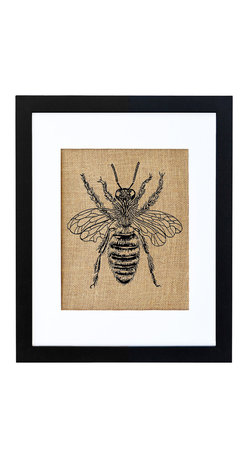 Fiber and Water - Honey Bee Art - Honeybees were popular in vintage art and are making a big comeback in culture today with news spreading of their endangerment. This fuzzy bee styled after vintage drawings looks delicate and friendly. Hand-printed onto natural burlap and neatly framed in a contemporary black frame and white matte, he'll fit right in and quickly become an essential part of your style ecosystem.