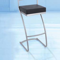 Archetto Modern Barstool - Simple elegant lines make the Archetto Bar Stool a favorite in the ultra modern decor. With a padded cushioned seat, water/stain resistant synthetic leather upholstery and stainless steel base, this bar stool is sure to be a favorite in your home or business for years to come.