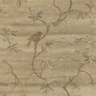 Beacon House - Corvus Light Brown Bird Tree Wallpaper - If your walls could talk, they'd perhaps chirp with satisfaction over displaying such an idyllic scene. Constructed of prepasted, heavy-weight vinyl, this wallpaper brings an air of calm to your room with sprawling branches in bloom and showcasing the quaint silhouettes of birds in the trees.