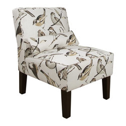"Skyline - ""Skyline Furniture Armless Chair, Bird Watcher Charcoal"" - ""This sleek armless chair is great for your seating needs. It's upholstered in an eye-catching pattern and its matching pillow accessory is included for lumbar support. Seat height is 19"""". Handmade in the USA. Spot clean only.Dimensions: 25W x 32D x 33H"""