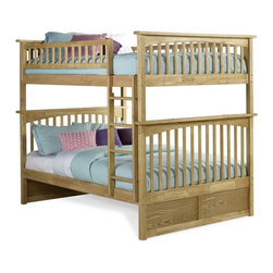 Columbia Bunk Bed Full over Full / Natural Maple - Features: