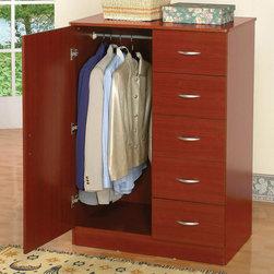 "Acme Furniture - Tuxedo Wardrobe in Cherry - Tuxedo Wardrobe in Cherry; Finish: Cherry; Materials: Pb, Paper Veneer; Weight: 132 lbs; Dimensions: 36"" x 22"" x 48""H"