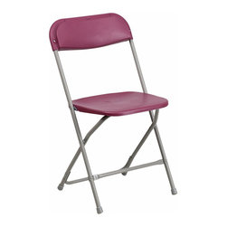 Flash Furniture - Flash Furniture Hercules Premium Plastic Folding Chair in Burgundy - Flash Furniture - Folding Chairs - BHD0001BGGG - Plastic folding chairs are the choice of many event planners for their lightweight design ease of cleaning and versatility among events. This portable folding chair can be used for Banquets Parties Graduations Sporting Events School Functions and in the Classroom. This chair will be the perfect addition in the home when in need of extra seating to accommodate guests. Constructed of lightweight textured polypropylene and a strong steel frame these folding chairs will suit most any occasion.