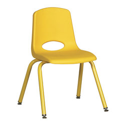 "Ecr4kids - Ecr4Kids 16"" Stackable School Chair - Matching Legs Yellow Pack Of 6 - Innovative school stack chair features molded seat with vented back has reinforced ribbing in back and under seat for strength. Frame features 16-gauge tubular steel legs and steel lower back support with color-coordinated finish. Full MIG welded frame. No penetration through the seat surface. SuperGlide composite ball glides for durability and protection on hard floors and carpet. Easy to clean and sanitize.Stackable school chair with molded seat, vented back and heavy-duty tubular steel legs. Seat Height 16"""
