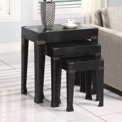 Faux Leather 3-Pc. Nested Tables in Black Finish - Bold, stylish and eye-catching this set of three nesting tables are statement pieces.