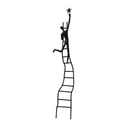 Cyan Design - Cyan Design Reaching for the Star Sculpture - A wobbly, seemingly dangerous ladder with uneven curves, steps and other details gives a precarious look to this Cyan Design sculpture. This Reaching for the Star sculpture features a single figure at the top, braving the obvious danger, in an attempt to reach the star.